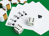 Playing cards and poker chips ( 3d rendering ) — Stock Photo