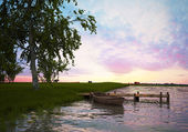 Summer evening on the shore of Lake ( 3d rendering) — Stock Photo