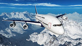 Airplane over the mountains ( 3D rendering ) — Stock Photo