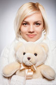Girl with Teddy bear. — Stock Photo