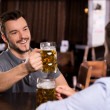 Relaxing in beer pub — Stock Photo #37123775