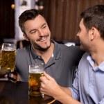 Relaxing in beer pub — Stock Photo