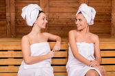 Spending time in sauna — Stock Photo