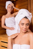 Relaxing in sauna — Stock Photo