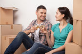 Celebrating their moving to a new apartment. — Stockfoto