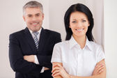 Cheerful and confident colleagues. — Stockfoto