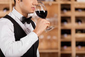 Smelling a good wine. — Stock Photo