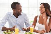 Loving couple having breakfast. — Stock Photo