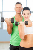 Training with dumbbells. — Stock Photo