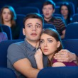Watching horror movie. — Stock Photo