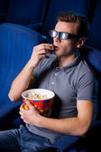 Man in three-dimensional glasses — Stock Photo