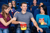 Flirting at the cinema. — Stock Photo