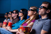 People enjoying three-dimensional movie. — Foto Stock