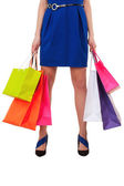 Female hand holding shopping bags — Stock Photo