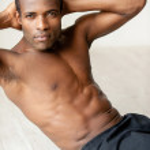 Muscular African man training — Stock Photo #43644853