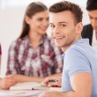 Four cheerful students — Stock Photo