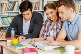 Preparing for exams in library. — Stock Photo