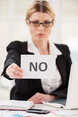 Woman in formal wear saying no — Stock Photo