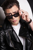 Male model in leather jacket — Stock Photo