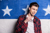Male model in checked shirt — Stock Photo