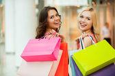 Happy friends shopping. — Stock Photo
