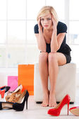 Woman in shoe store. — Stock Photo