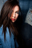 Woman in jeans shirt — Stock Photo