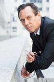Thoughtful mature businessman — Stock Photo