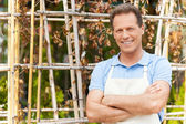 Man in apron keeping arms crossed — Stock Photo
