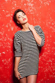 Short hair woman in striped clothing — Stock Photo