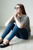 Woman in striped clothing — Stock Photo