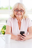 Cheerful senior woman looking at mobile phone — Stock Photo
