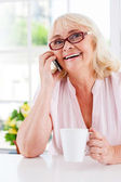 Senior woman talking on mobile phone — Stock Photo