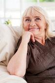 Thoughtful senior woman — Stock Photo