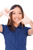 Asian woman gesturing finger frame — Stock Photo