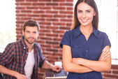 Young and confident experts. — Stock Photo
