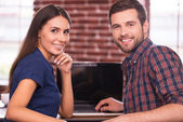 Cheerful young man and woman — Stock Photo