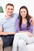 Happy loving couple at home. — Stock Photo