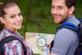 Happy tourist couple. — Stock Photo