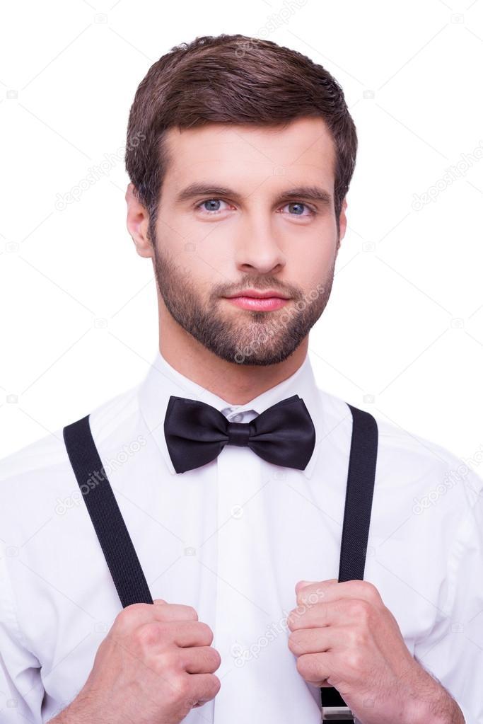 junger mann in wei em hemd und fliege stockfoto gstockstudio 48087117. Black Bedroom Furniture Sets. Home Design Ideas