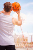 Basketball player ready for the shot — Stock Photo