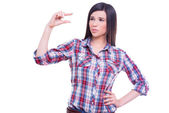 Woman gesturing small size — Stock Photo