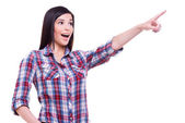 Woman pointing away — Stock Photo