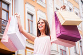 Happy woman after day shopping. — Stock Photo