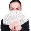 Woman in formalwear holding paper currency — Stock Photo #48897829