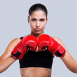 Sporty woman in boxing gloves — Stock Photo #49542205