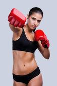 Woman boxing. — Stock Photo