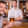 Happy bar customer. — Stock Photo