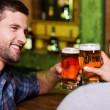 Young men toasting with beer — Stock Photo #49602989