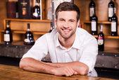 Cheerful bartender. — Stock Photo